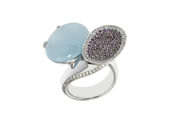 Aquamarine & purple diamonds Ring
