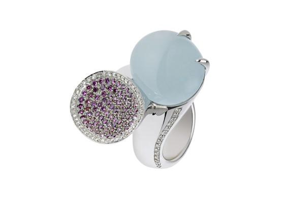Aquamarine & purple diamonds Ring