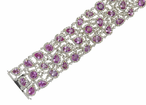 Pink sapphires and diamonds bracelet