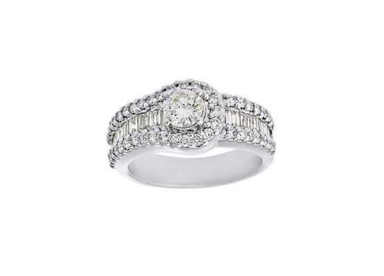 Baguette-cut and brilliant-cut diamond Ring