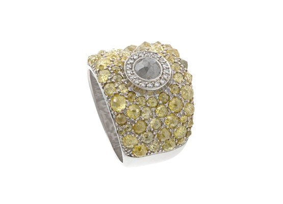 Yellow & Grey Ice Diamonds Ring