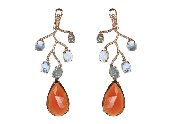 Aquamarine & Garnet Chandelier Earrings