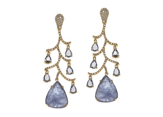 sapphire and tanzanite Chandelier Earrings