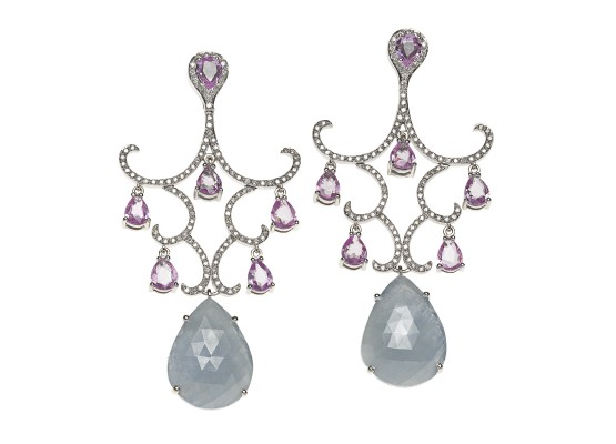 Pink & grey sapphire Chandelier Earrings