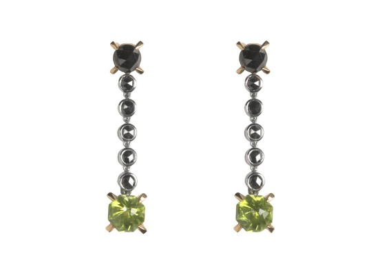 Black diamond and peridot Earrings
