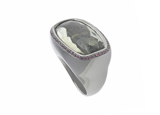 Prasolite & purple diamonds Ring