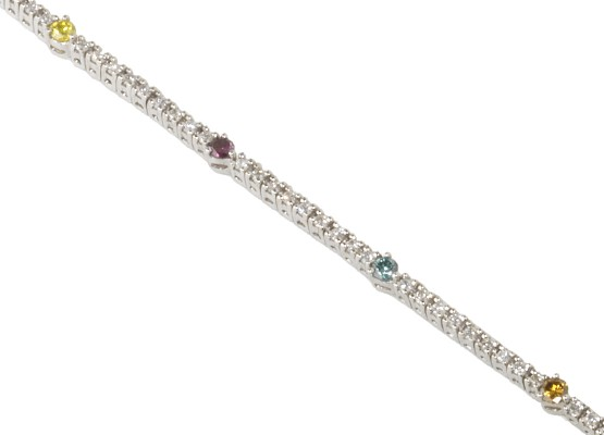 White and coloured diamonds Bracelet