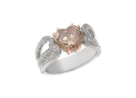 brown heart-cut diamond ring