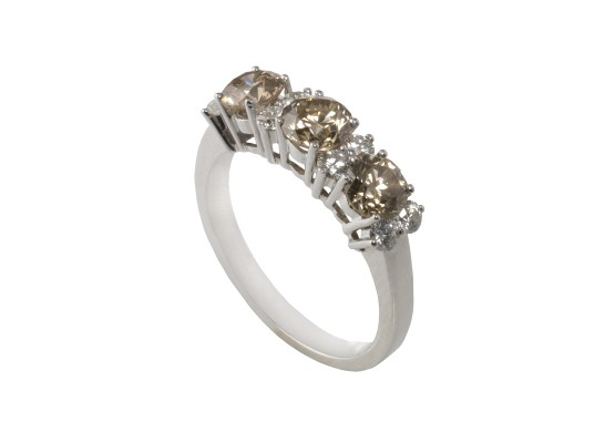 brown & white brilliant-cut diamond Ring