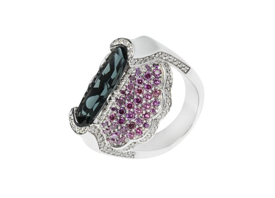 Tourmaline and Purple diamonds Ring
