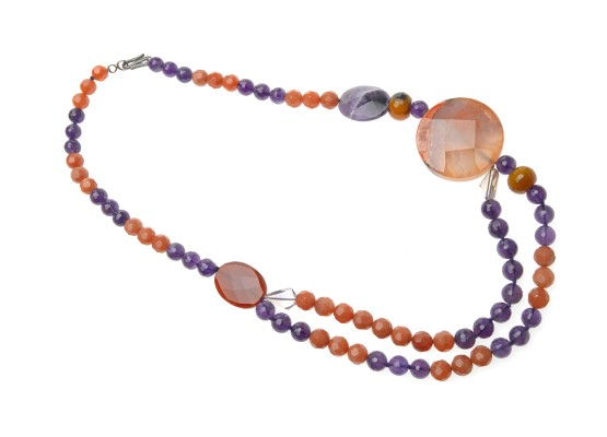 Amethyst and agates Necklace
