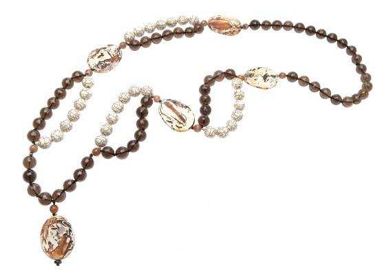 Agates and smoked quartz Necklace