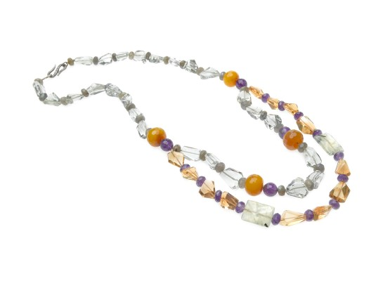 Necklace quartz, amethysts, agates and labradorites