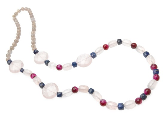 Necklace pink quartz, lapis lazuli and agates