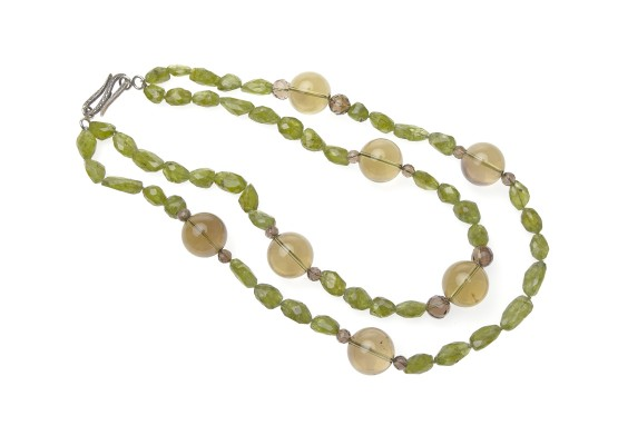 Peridots and smoked quartz Necklace