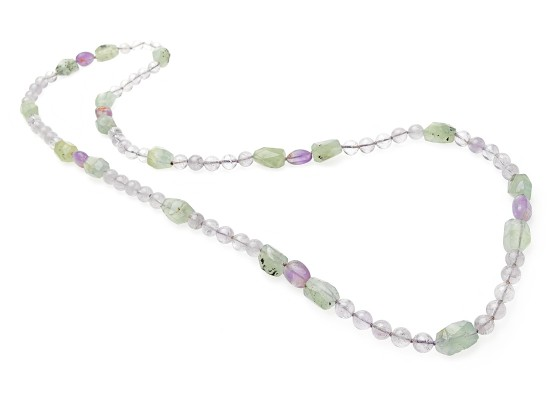 Necklace green quartz and amethysts