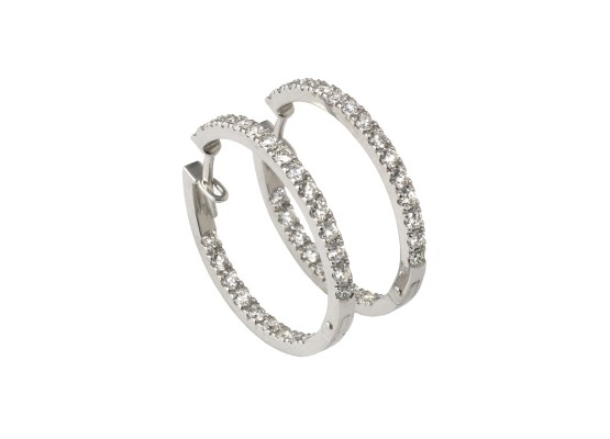 White Diamonds Hoops