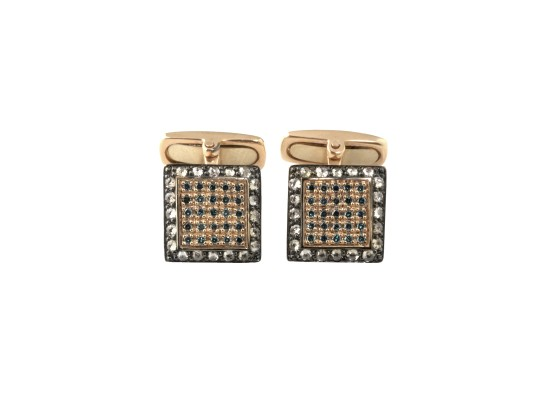 Square Cufflinks blue diamonds
