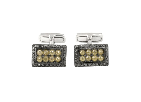 Rectangular Cufflinks yellow diamonds