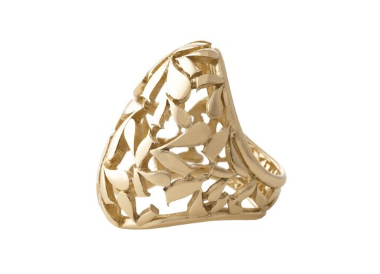 Oval-shaped ring motif yellow