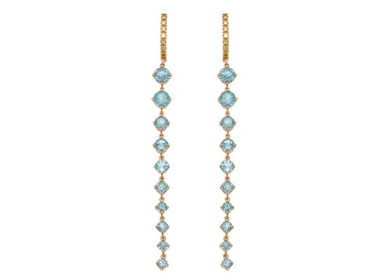 Apatite and diamond earrings