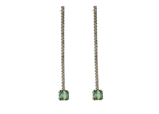 Green tourmaline & brown diamonds Earrings