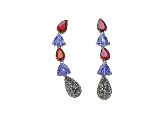 Sapphires Earrings, tanzanites & black diamonds