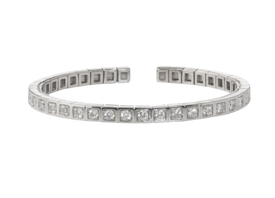 Semi-rigid white diamonds bracelet