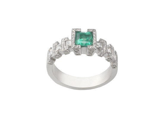 Emerald solitaire with diamonds