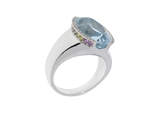 Aquamarine and coloured diamonds ring