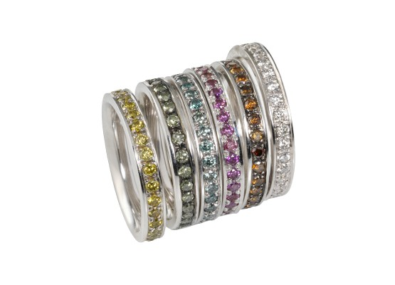 coloured diamond wedding bands