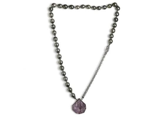 collar ametrino y perlas